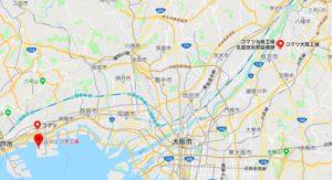 コマツ(小松)工場の地図