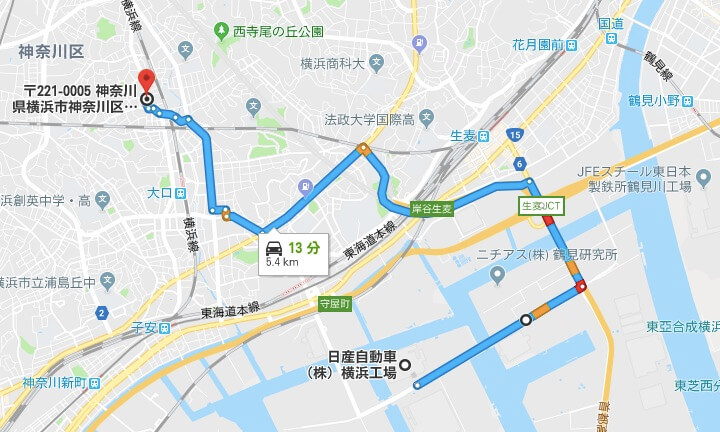 リベルテ新横浜から横浜工場までの距離